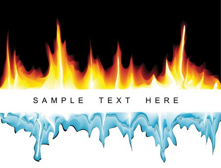 hot and cold: Vector background with flames and icicles