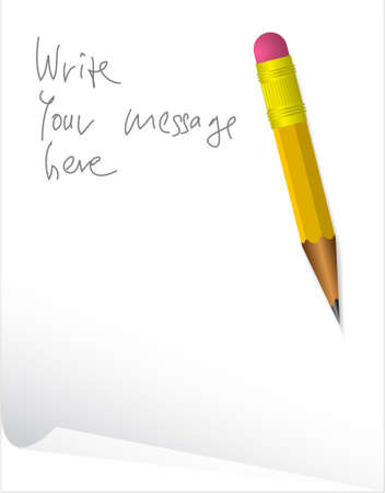 Paper with message and a pencil Stock Photo - 3533365