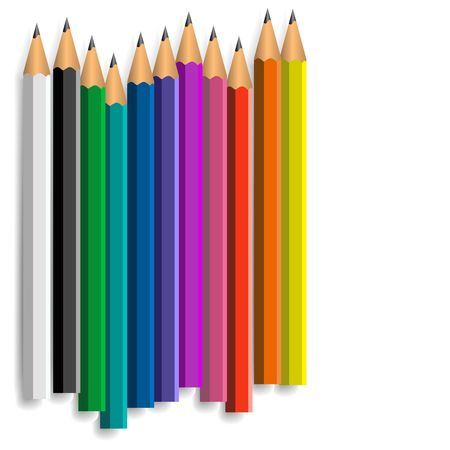 Set of coloured pencils on a white background photo