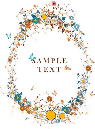 an oval: Follaje oto�al de color de fondo con el lugar de su texto