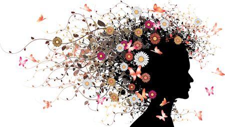 meisje silhouet: Floral meisje silhouet - gekleurde versie met bloemen en vlinders