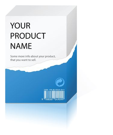 software package: Partially unpacked box with some product (packed in blue paper)