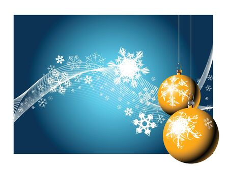 Christmas bulbs with snowflakes on blue background   photo