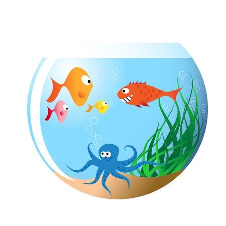 Various fishes in aquarium - cartoon illustration illustration