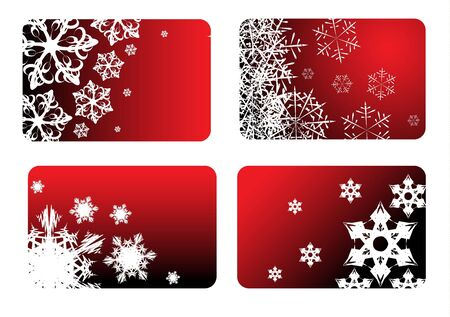 Red christmas cards with snowflakes photo
