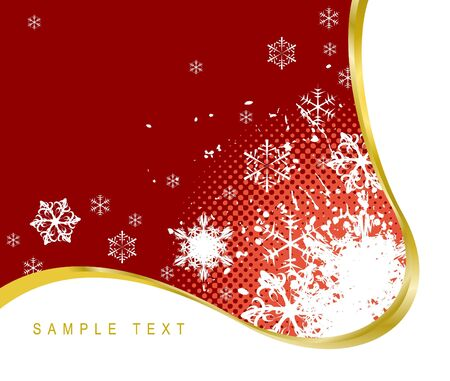 Red Christmas background with snowflakes and golden ribbon   photo