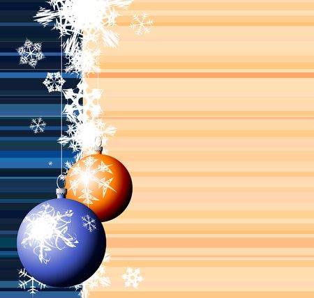 Christmas bulbs with snowflakes on stripped background photo