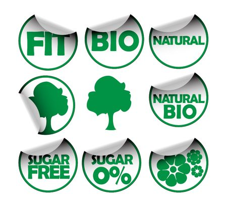 Set of labels for organic, fresh, healthy, bio food Stock Photo - 3698655