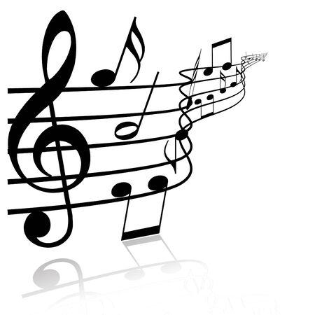 Music theme - black notes on white background