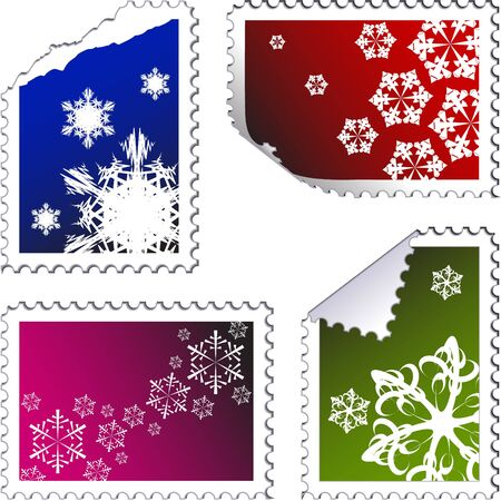 set of christmas post stamps on a white background photo