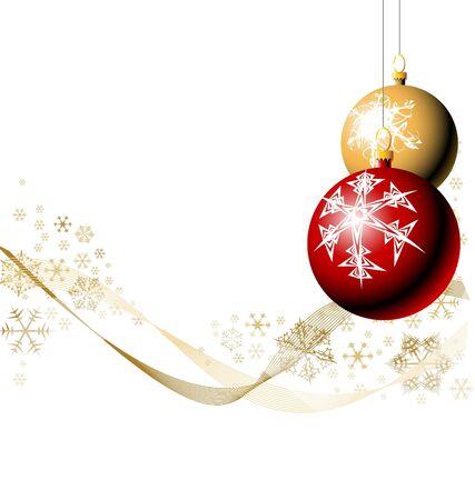 glint: Bombillas de Navidad con copos de nieve - el rojo y el dorado versi�n Foto de archivo