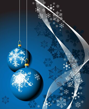 Christmas bulbs with snowflakes on blue background Stock Photo - 3802425