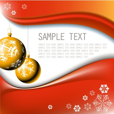 original sparkle: Golden Christmas bulbs with snowflakes on red background Stock Photo