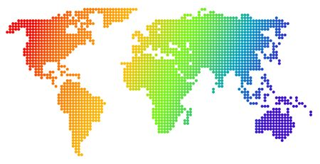 Map of the world, made from color dots     photo
