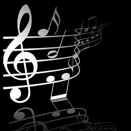 popular music: Music theme - white notes on black background