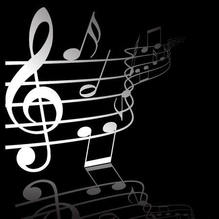 Music theme - white notes on black background