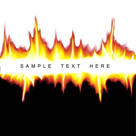 tongues of fire: Vector hot background with flames on black and white