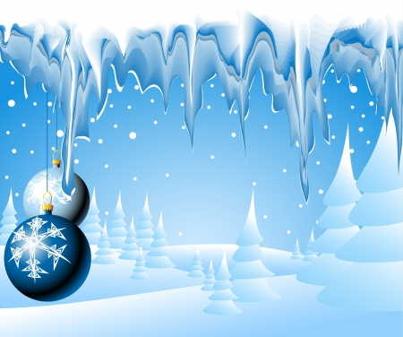 Christmas landscape with christmas bulbs and icicles photo