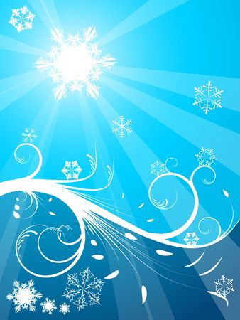 Cold Christmas background with snowflakes - light and dark blue photo