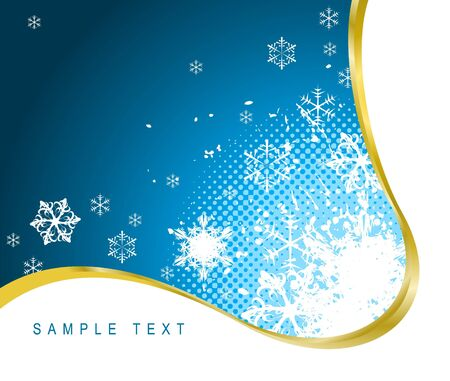 Christmas background with snowflakes and golden ribbon photo