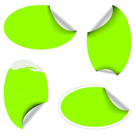 Green oval labels badges and stickers photo