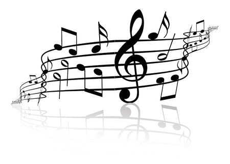 conservatory: Music theme - black notes on white background