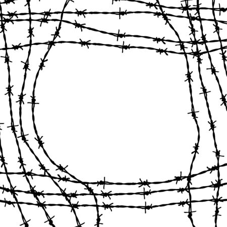 barbed wires: Marco elaborados a partir de alambres de p�as Foto de archivo