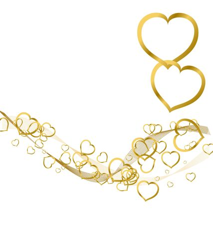 Valentines background with golden hearts on white photo