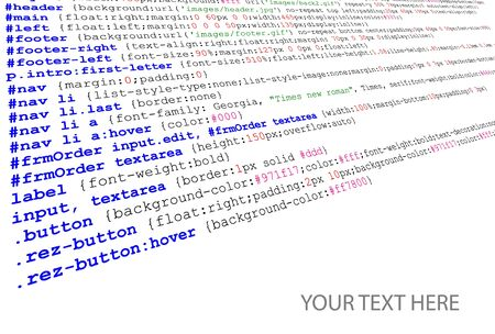 listing: Stylesheet source code listing - technology background