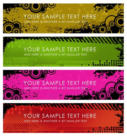 Set of grunge banners - olive, green, pink and red photo