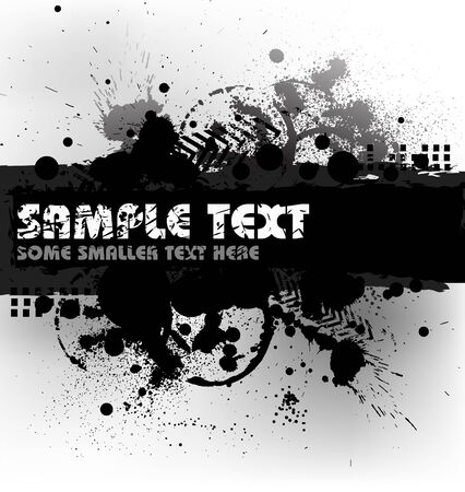 Grunge background with blots and place for your text (black and white) photo