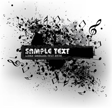 Grunge musical background with blots and place for your text (black and white) photo