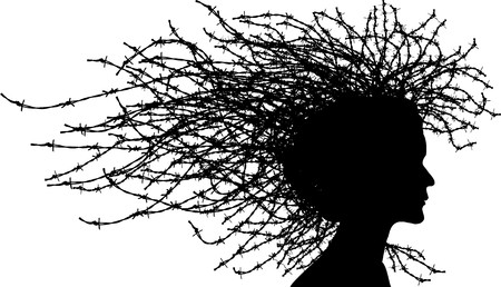 agony: Woman head with hair from barbed wires