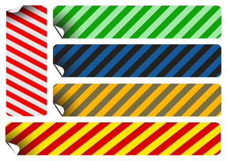 Set of labels and stickers with stripes - various colors photo