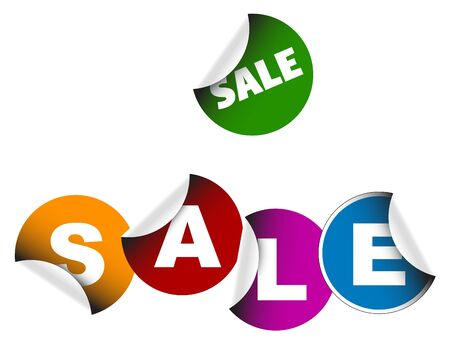 Sale labels on a white background photo