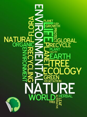 protecting: Ecology - environmental poster made from words Stock Photo