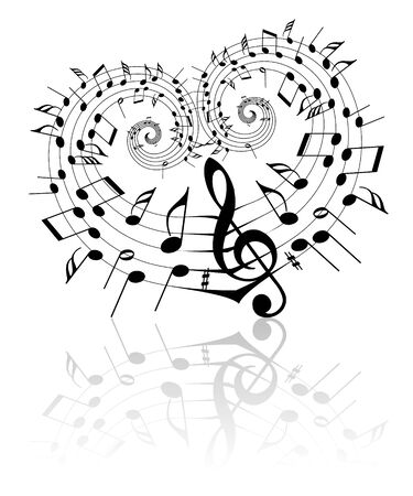 Valentine music theme - notes on the heart Stock Photo - 4423862