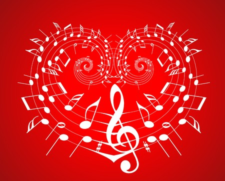 Valentine music theme - notes on the heart Stock Photo - 4423887
