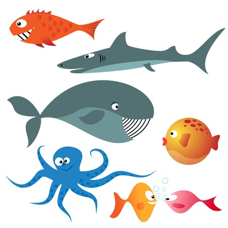 whale underwater: Set of various sea animals (fishes, octopus, whale, shark)
