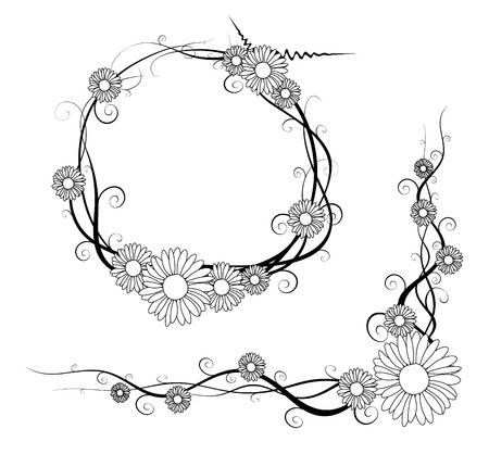 Black and white vector daisy frame and corner