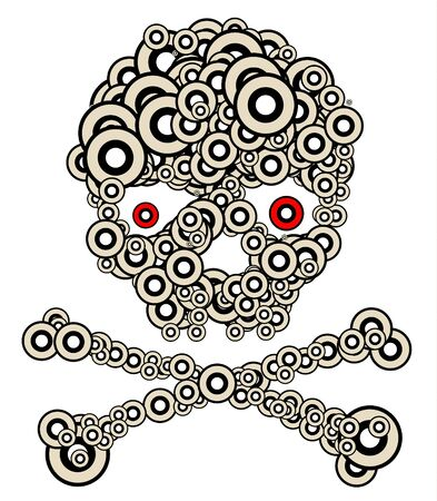 Skull made from circles - modern tatoo illustration Stock Illustration - 4423902