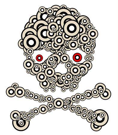 Skull made from circles - modern tatoo illustration illustration