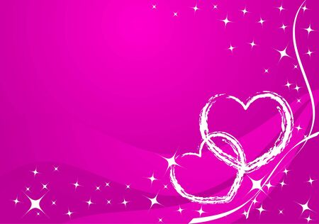 Vector valentine card - white hearts on rose background photo