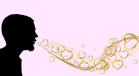 yearning: Silhouette of the man, who is blowing  hearts Stock Photo