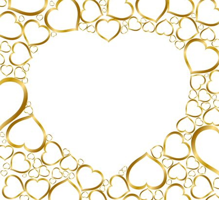 yearning: Valentines background with golden hearts on white Stock Photo