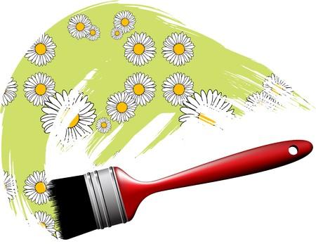 Paintbrush making flower pattern photo