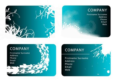 Set of teal business card templates photo
