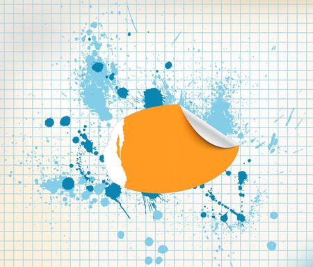 Orange sticker on a grunge background with ink splats photo