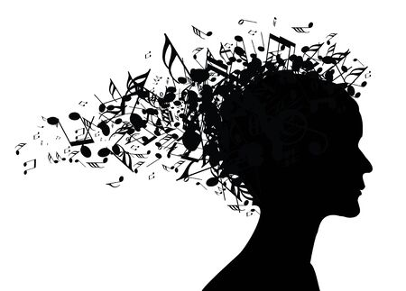 Woman portrait silhouette with notes as a hair photo