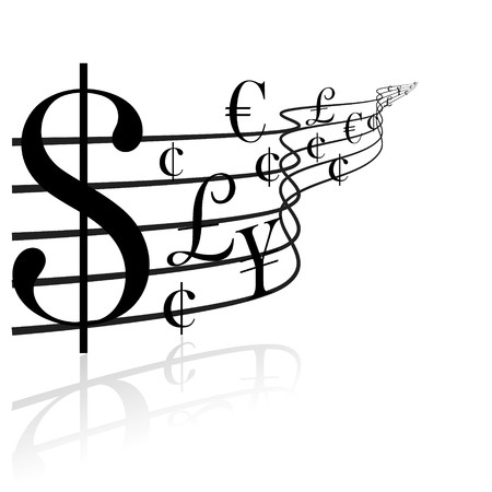 Financial concept - money music - black and white photo